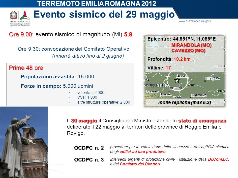 TERREMOTO EMILIA ROMAGNA 2012 Evento sismico del 29 maggio