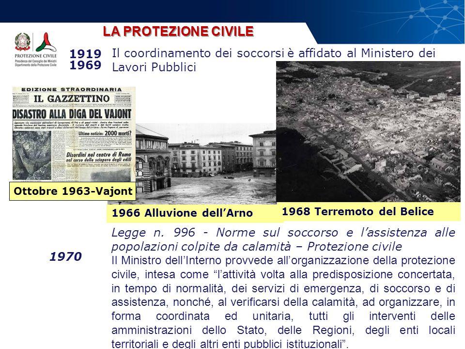 LA PROTEZIONE CIVILE Il coordinamento dei soccorsi è affidato al Ministero dei Lavori Pubblici. 1919 1969.