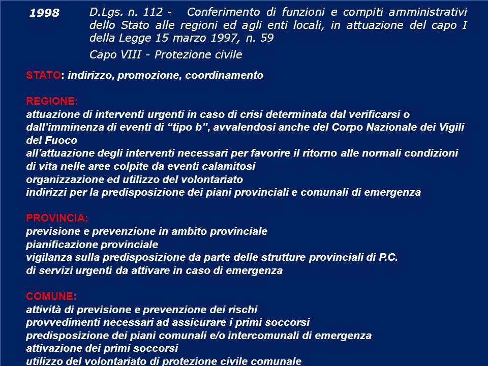 D.Lgs. n. 112 - Conferimento di funzioni e compiti amministrativi dello Stato alle regioni ed agli enti locali, in attuazione del capo I della Legge 15 marzo 1997, n. 59