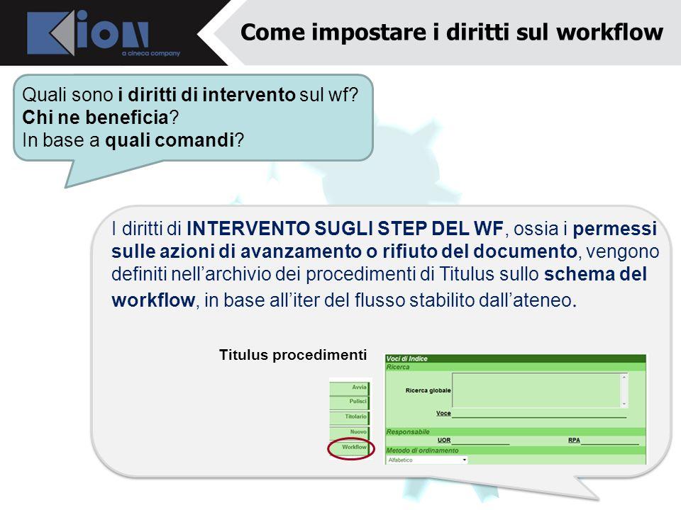 Come impostare i diritti sul workflow