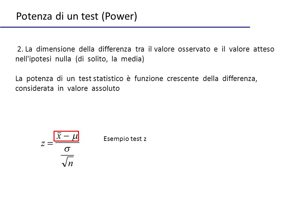 Potenza di un test (Power)