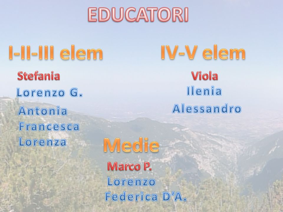 EDUCATORI I-II-III elem IV-V elem Medie