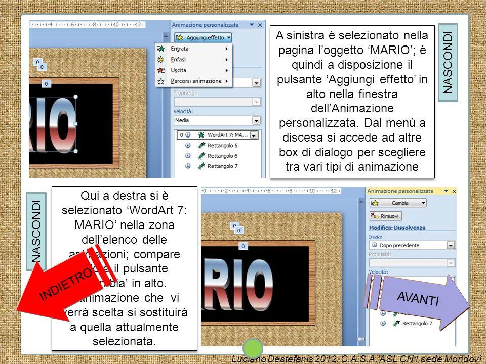 A sinistra è selezionato nella pagina l'oggetto 'MARIO'; è quindi a disposizione il pulsante 'Aggiungi effetto' in alto nella finestra dell'Animazione personalizzata. Dal menù a discesa si accede ad altre box di dialogo per scegliere tra vari tipi di animazione