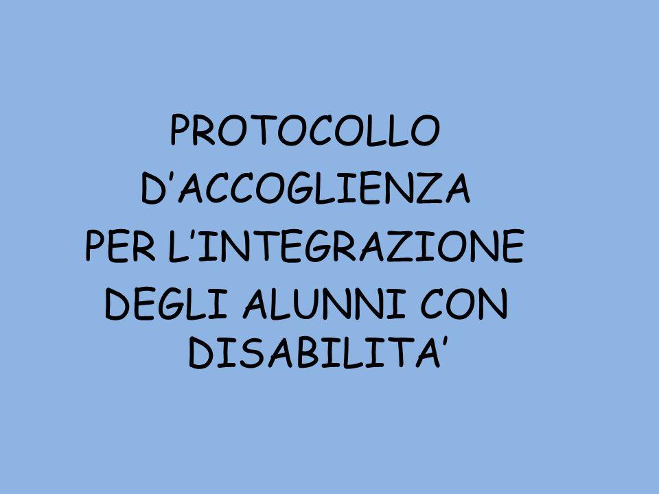 PROTOCOLLO D'ACCOGLIENZA PER L'INTEGRAZIONE DEGLI ALUNNI CON DISABILITA'