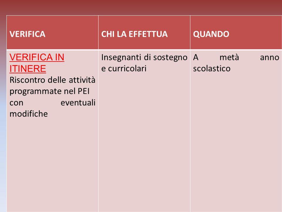 VERIFICA CHI LA EFFETTUA. QUANDO. VERIFICA IN ITINERE. Riscontro delle attività programmate nel PEI.