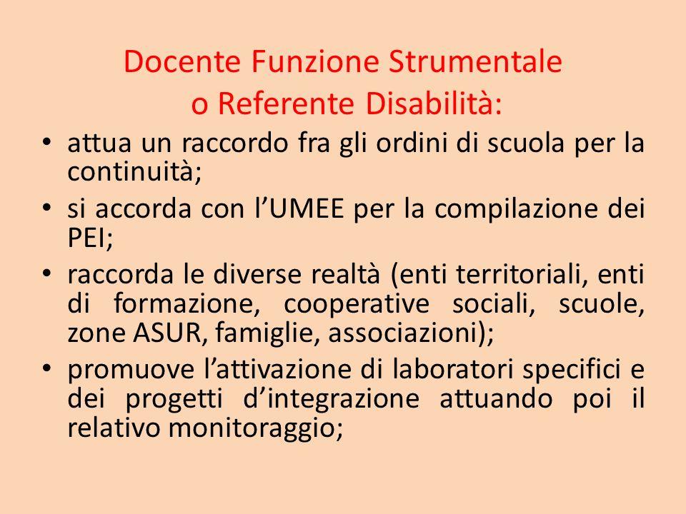 Docente Funzione Strumentale o Referente Disabilità: