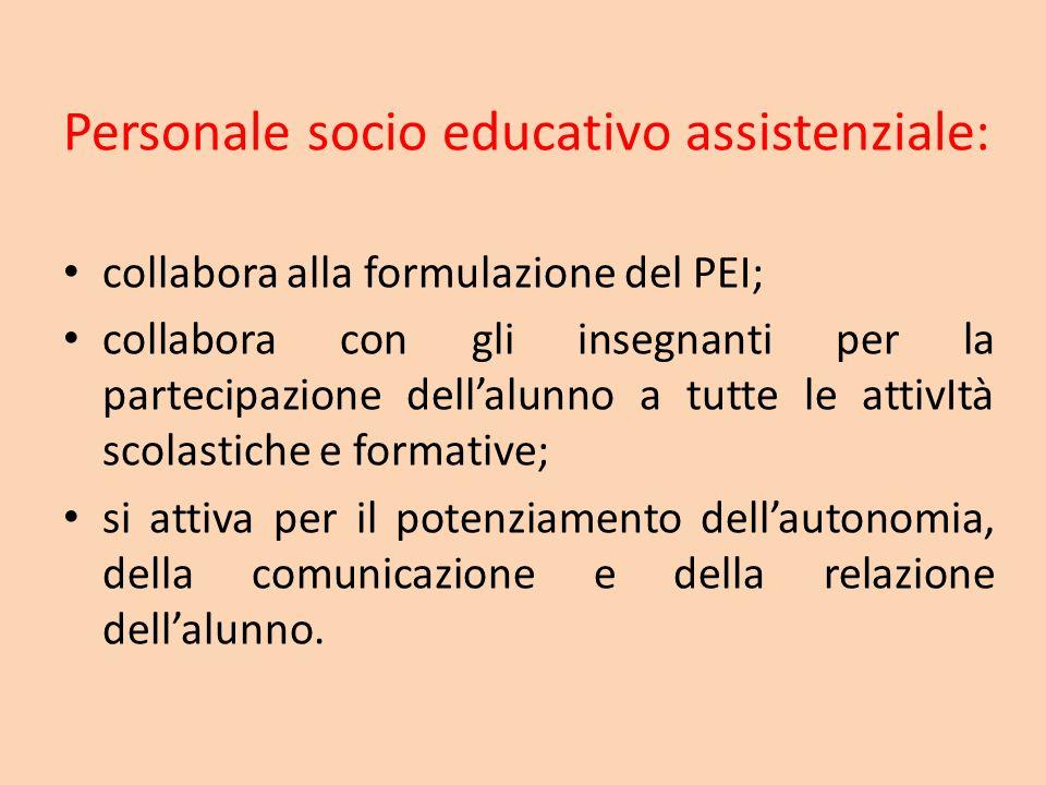 Personale socio educativo assistenziale: