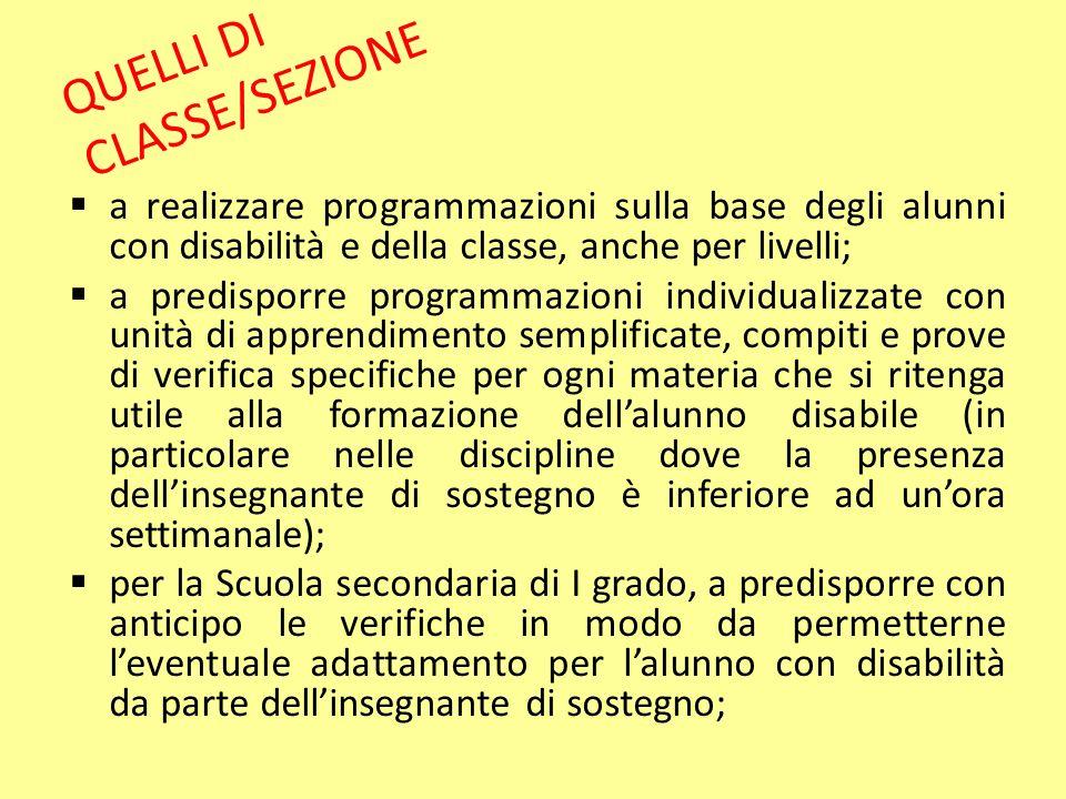 QUELLI DI CLASSE/SEZIONE
