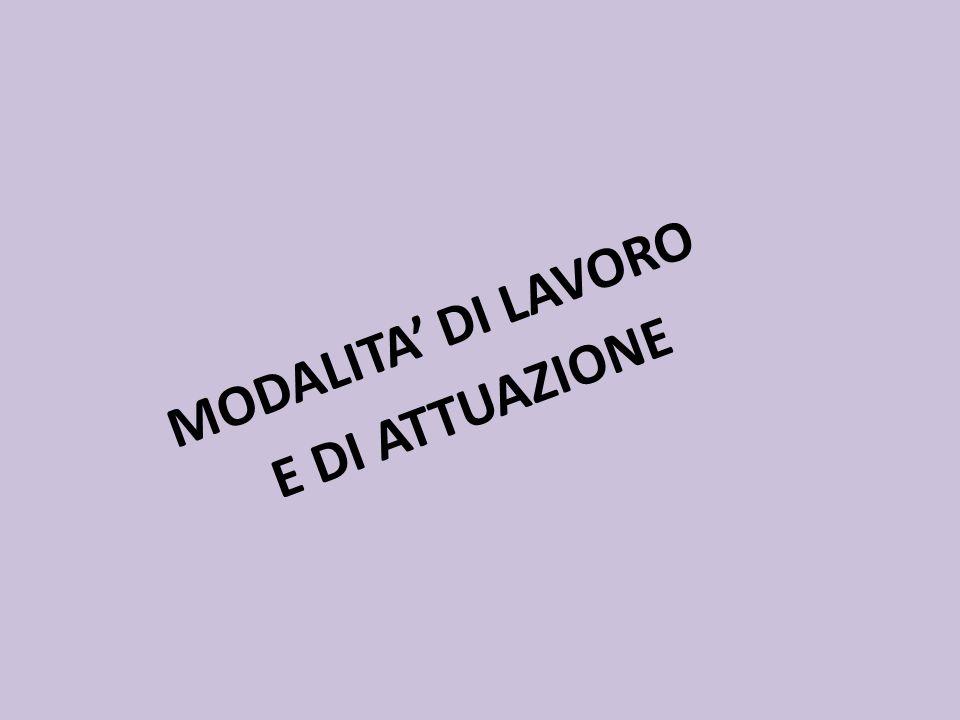 MODALITA' DI LAVORO E DI ATTUAZIONE