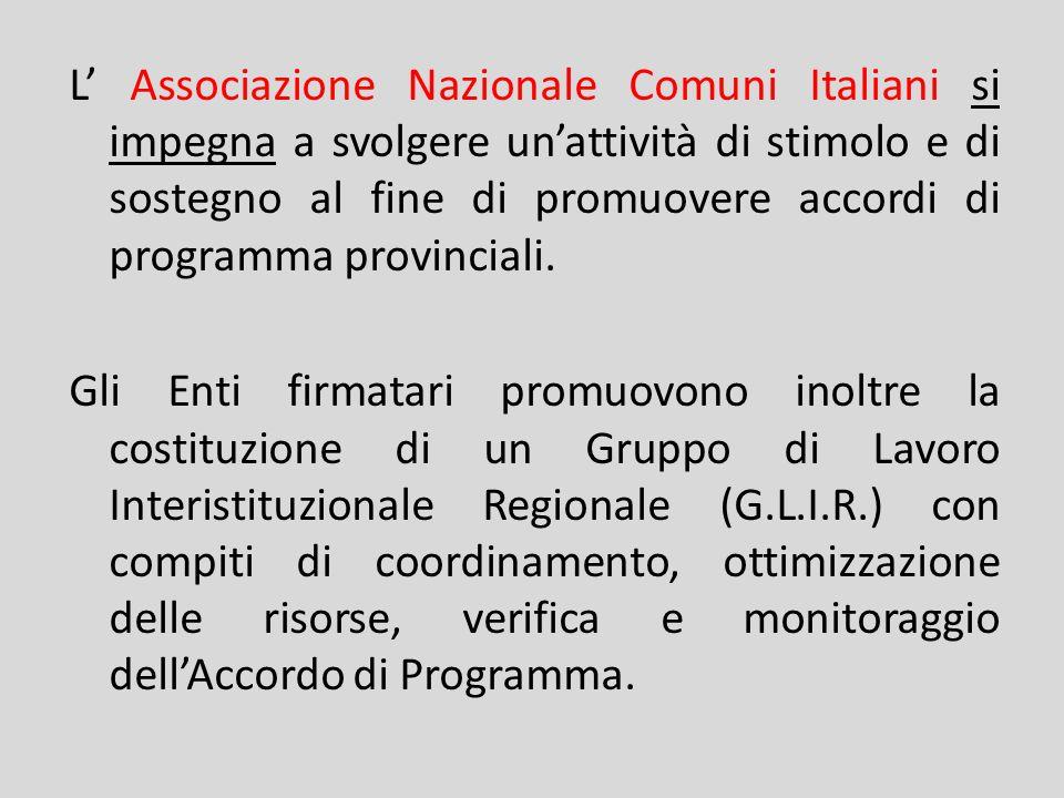 L' Associazione Nazionale Comuni Italiani si impegna a svolgere un'attività di stimolo e di sostegno al fine di promuovere accordi di programma provinciali.