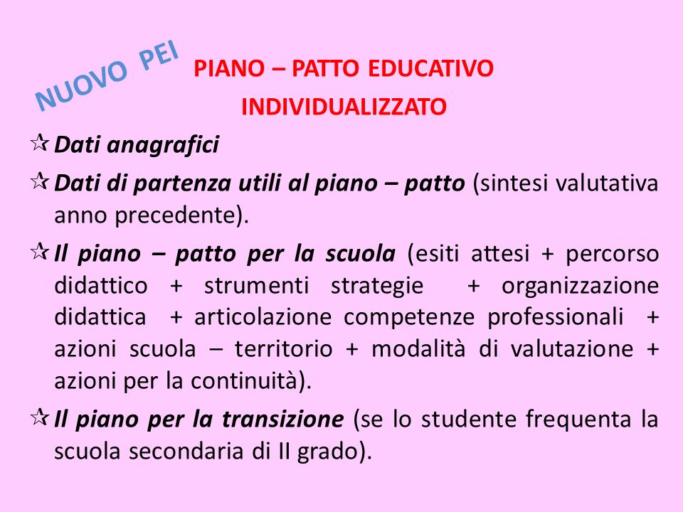 PIANO – PATTO EDUCATIVO