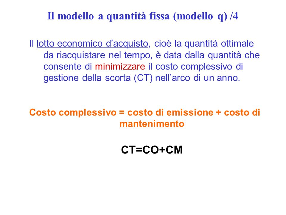 Il modello a quantità fissa (modello q) /4