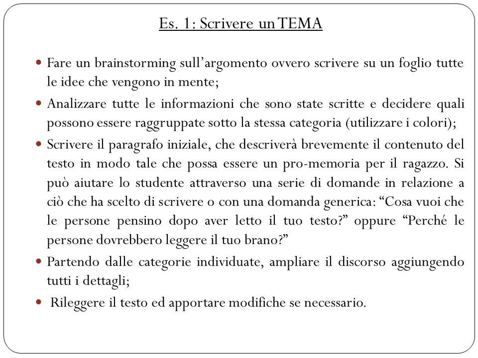 Es. 1: Scrivere un TEMA Fare un brainstorming sull'argomento ovvero scrivere su un foglio tutte le idee che vengono in mente;