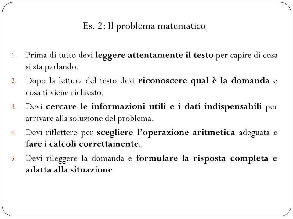 Es. 2: Il problema matematico