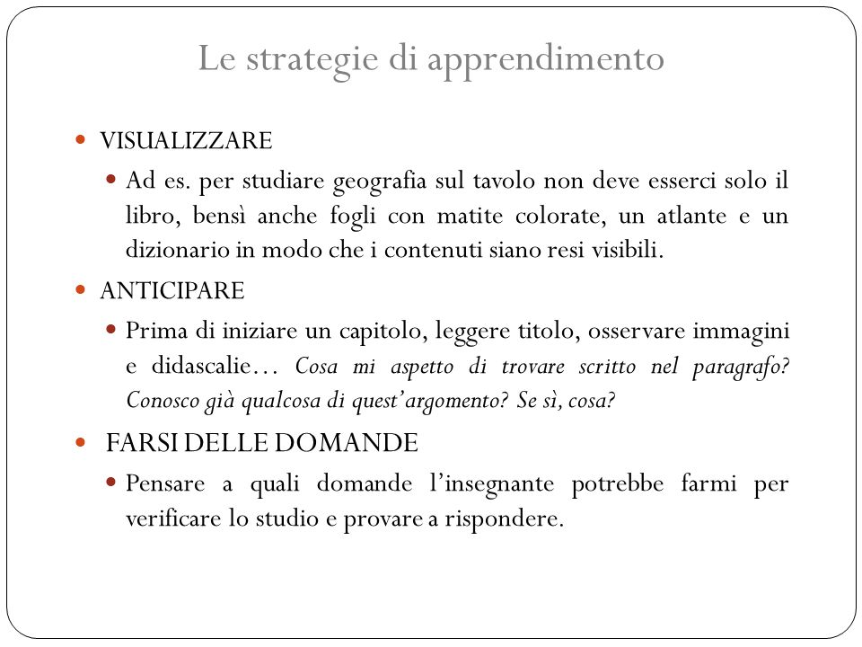 Le strategie di apprendimento