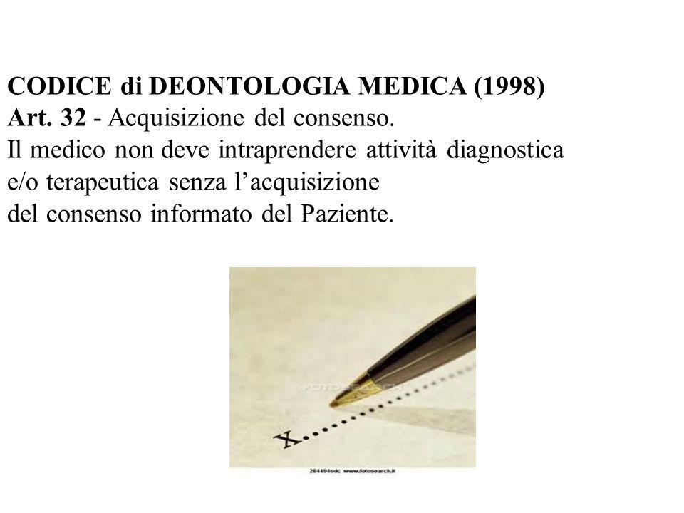 CODICE di DEONTOLOGIA MEDICA (1998) Art. 32 - Acquisizione del consenso. Il medico non deve intraprendere attività diagnostica