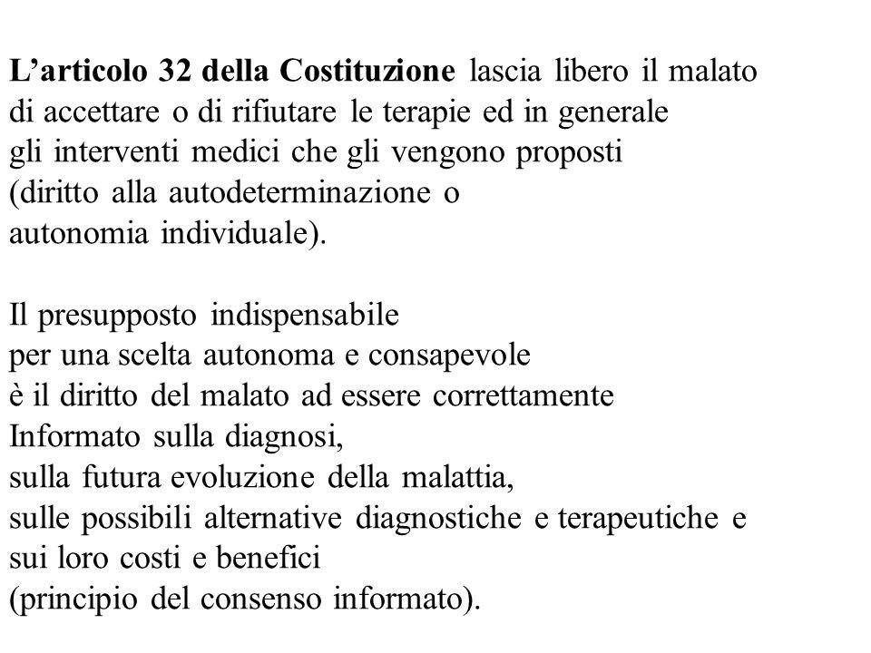 L'articolo 32 della Costituzione lascia libero il malato