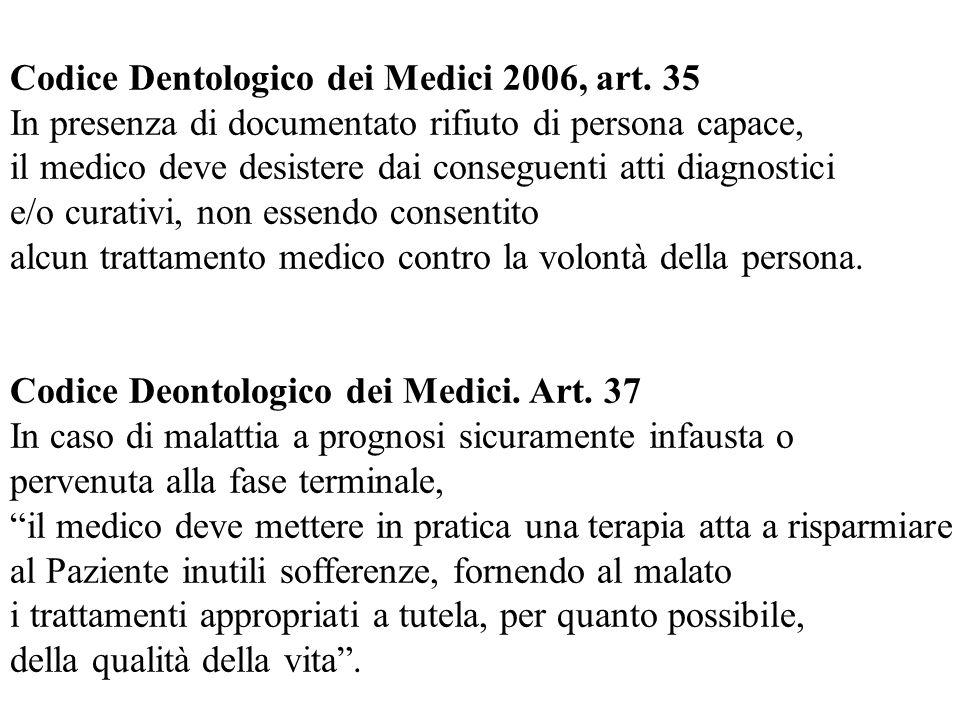 Codice Dentologico dei Medici 2006, art. 35