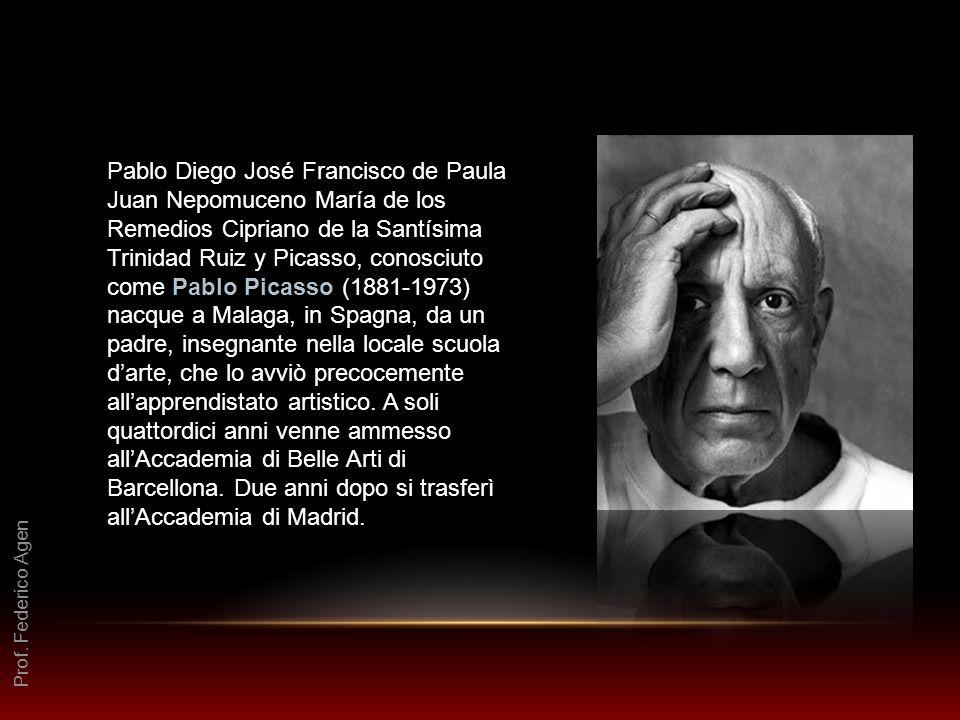 Pablo Diego José Francisco de Paula Juan Nepomuceno María de los Remedios Cipriano de la Santísima Trinidad Ruiz y Picasso, conosciuto come Pablo Picasso (1881-1973) nacque a Malaga, in Spagna, da un padre, insegnante nella locale scuola d'arte, che lo avviò precocemente all'apprendistato artistico. A soli quattordici anni venne ammesso all'Accademia di Belle Arti di Barcellona. Due anni dopo si trasferì all'Accademia di Madrid.