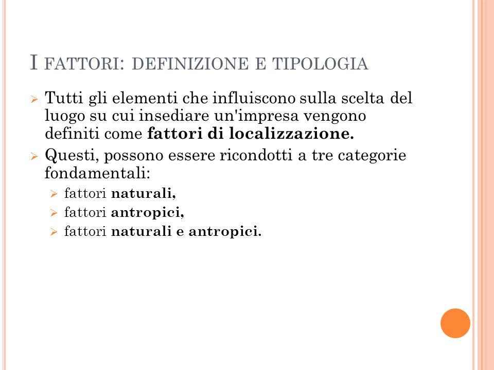 I fattori: definizione e tipologia