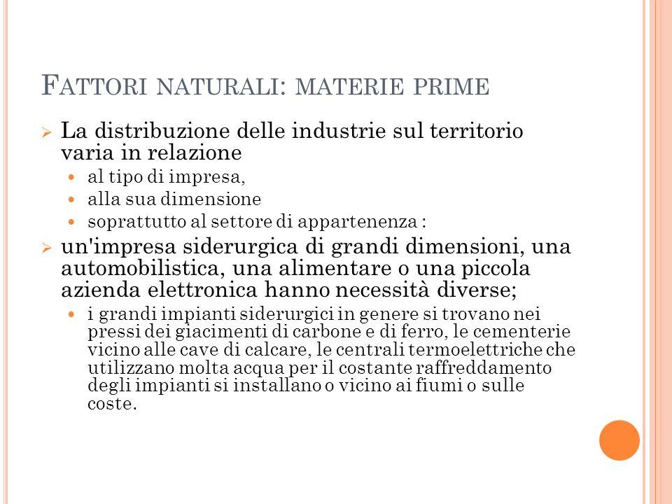 Fattori naturali: materie prime