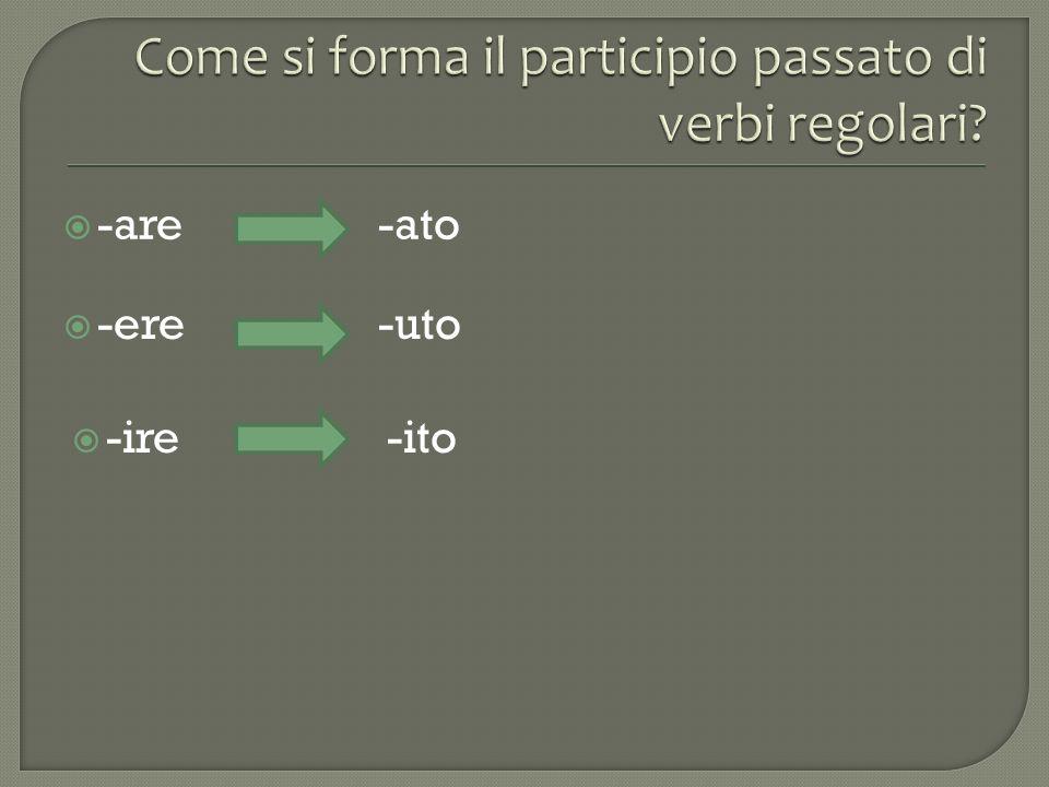 Come si forma il participio passato di verbi regolari