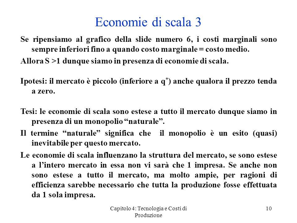 Capitolo 4: Tecnologia e Costi di Produzione