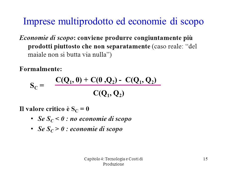 Imprese multiprodotto ed economie di scopo