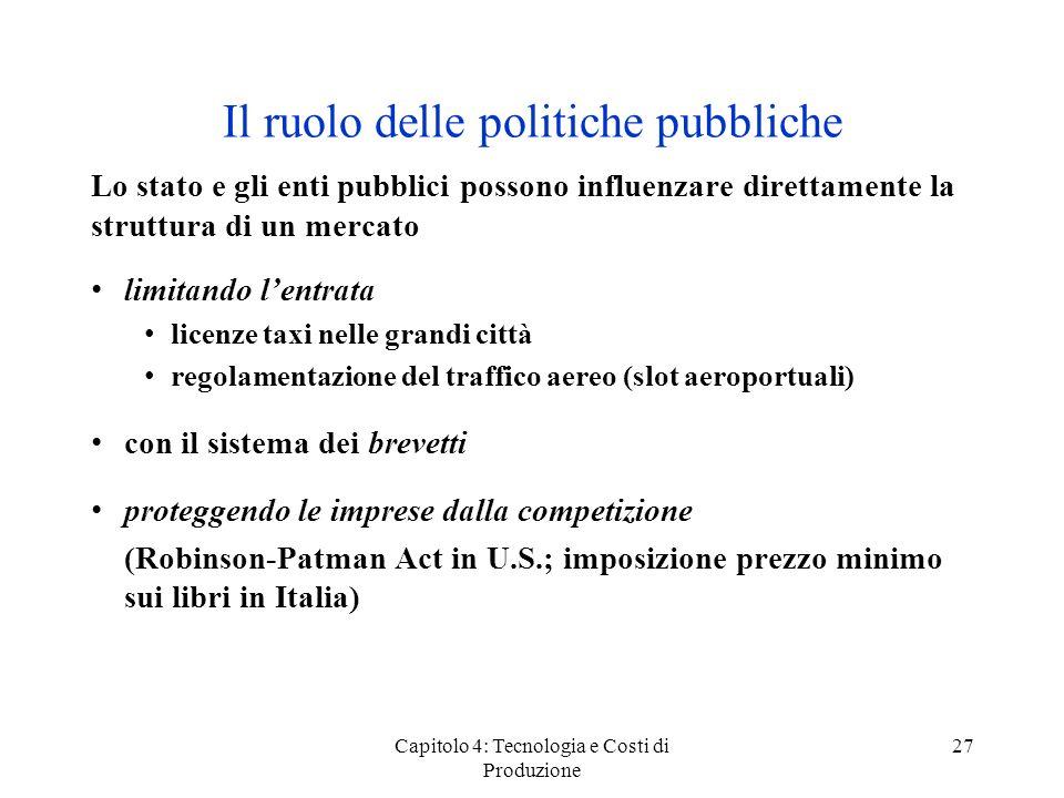 Il ruolo delle politiche pubbliche