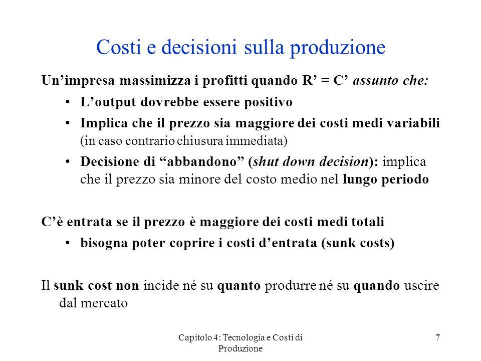 Costi e decisioni sulla produzione