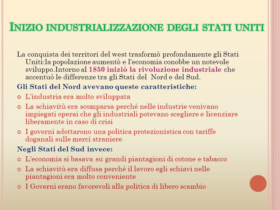 Inizio industrializzazione degli stati uniti