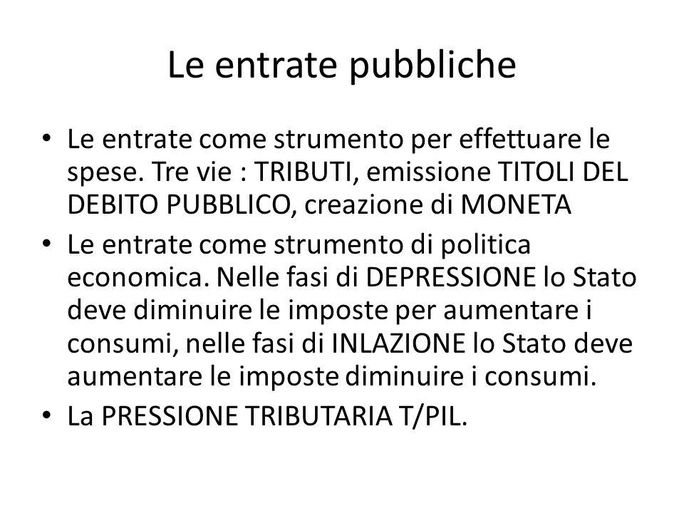 Le entrate pubbliche Le entrate come strumento per effettuare le spese. Tre vie : TRIBUTI, emissione TITOLI DEL DEBITO PUBBLICO, creazione di MONETA.