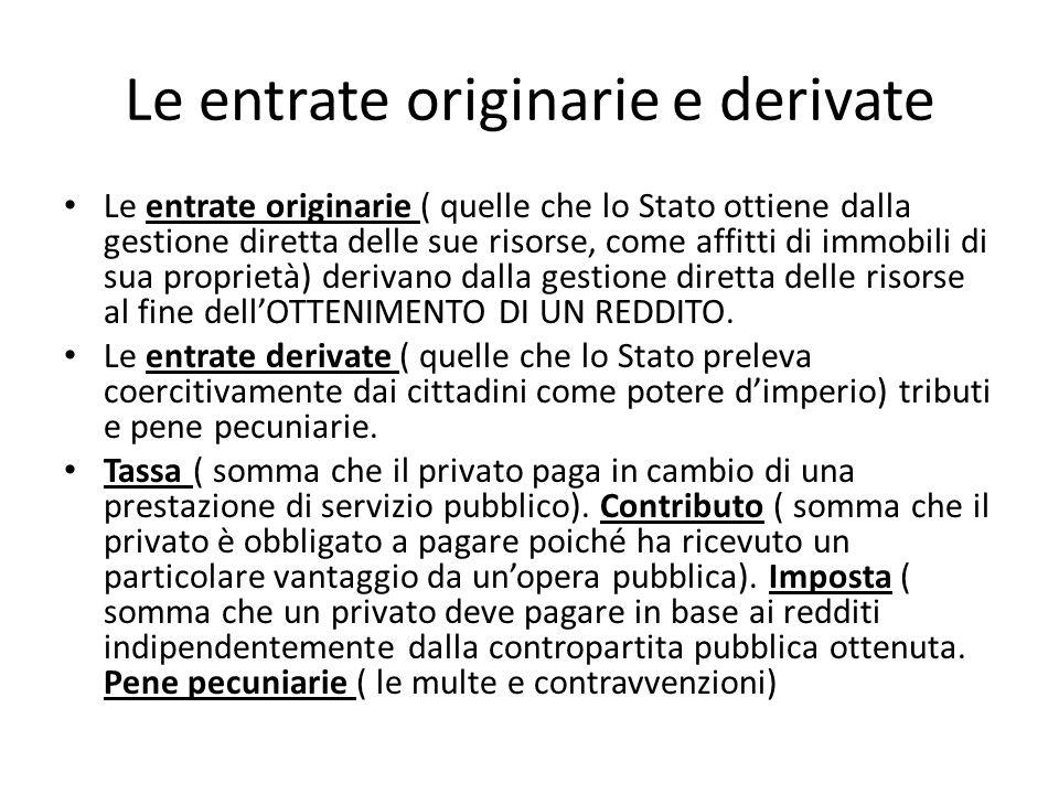 Le entrate originarie e derivate