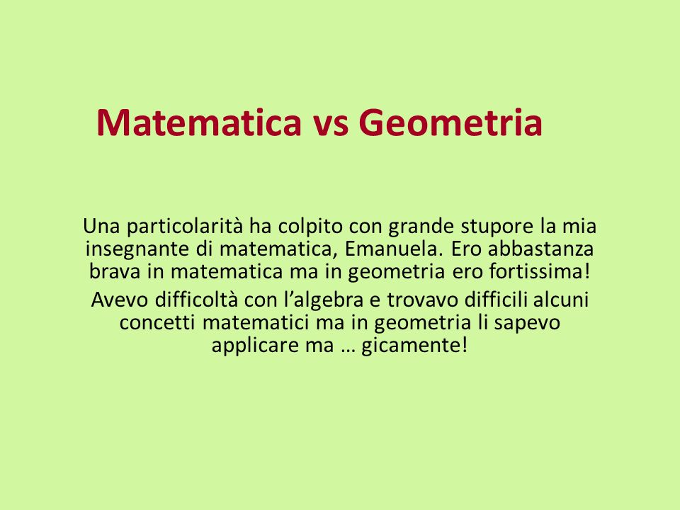 Matematica vs Geometria