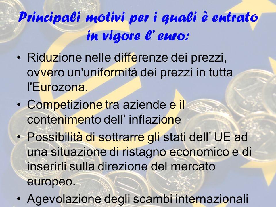 Principali motivi per i quali è entrato in vigore l' euro: