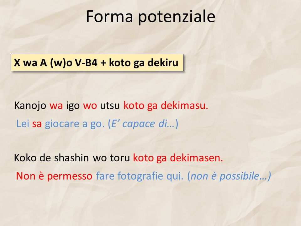 Forma potenziale X wa A (w)o V-B4 + koto ga dekiru