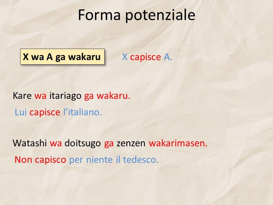 Forma potenziale X wa A ga wakaru X capisce A.