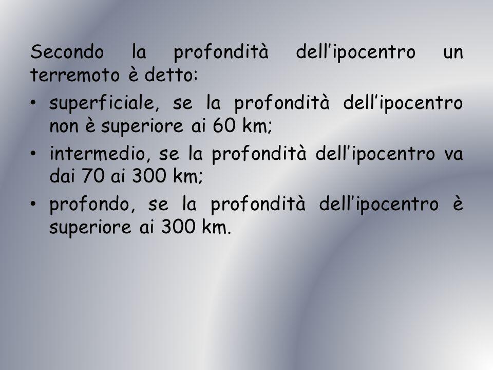 Secondo la profondità dell'ipocentro un terremoto è detto: