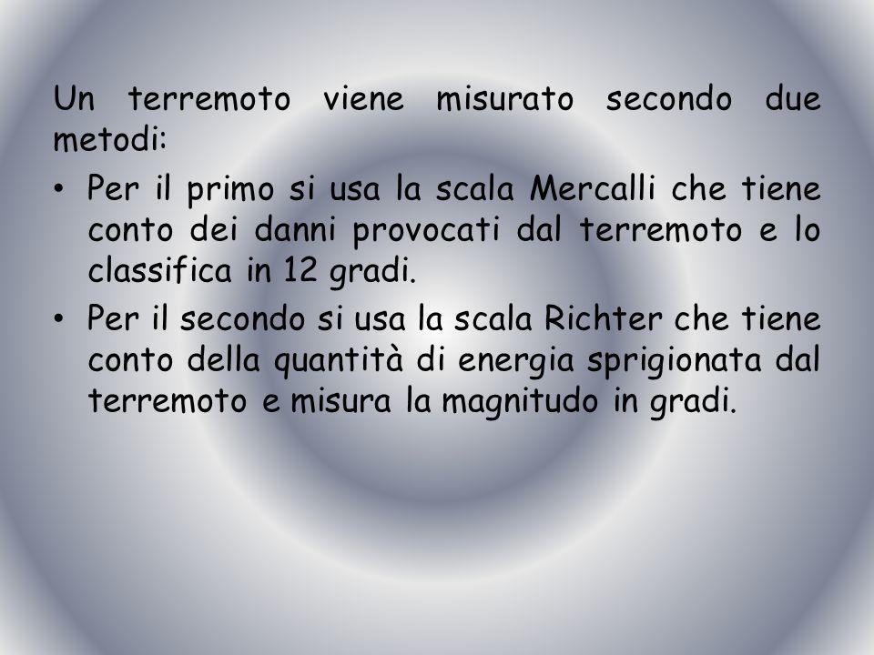 Un terremoto viene misurato secondo due metodi: