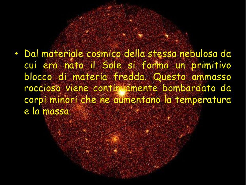 Dal materiale cosmico della stessa nebulosa da cui era nato il Sole si forma un primitivo blocco di materia fredda.