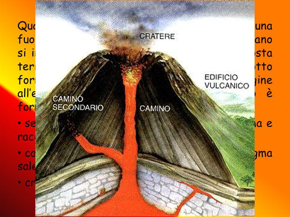 Quando due zolle si scontrano e c'è una fuoriuscita ti lava si parla di vulcano: per vulcano si intende una qualsiasi spaccatura nella crosta terrestre dalla quale fuoriesce il magma sotto forma di lava. Questa si raffredda e dà origine all'edificio o cono vulcanico. Il vulcano è formato da: