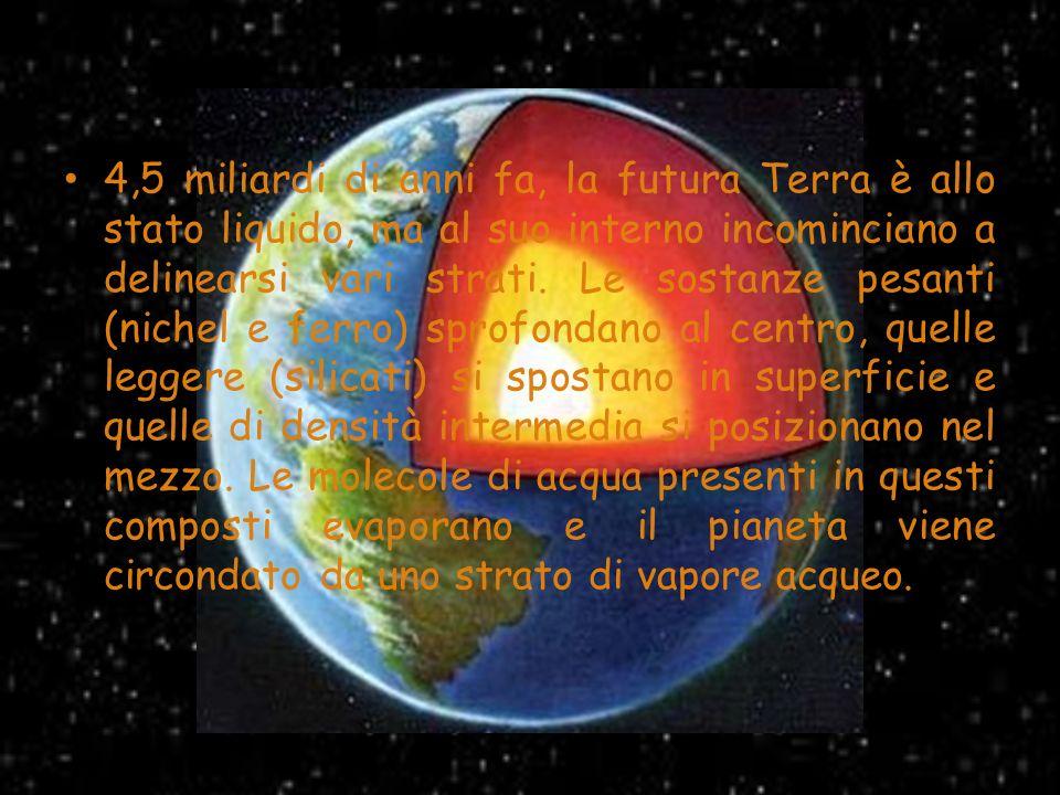 4,5 miliardi di anni fa, la futura Terra è allo stato liquido, ma al suo interno incominciano a delinearsi vari strati.