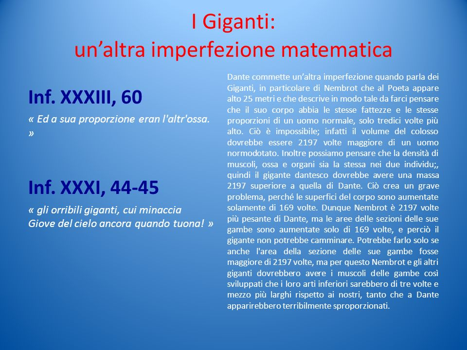 I Giganti: un'altra imperfezione matematica
