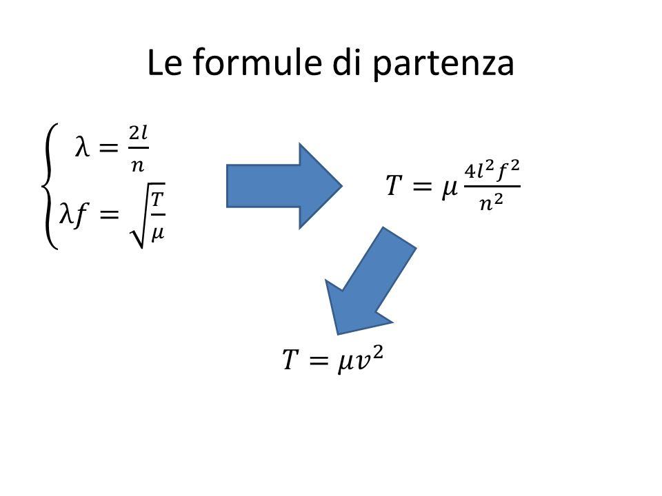 Le formule di partenza λ= 2𝑙 𝑛 λ𝑓= 𝑇 𝜇 𝑇=𝜇 4 𝑙 2 𝑓 2 𝑛 2 𝑇=𝜇 𝑣 2