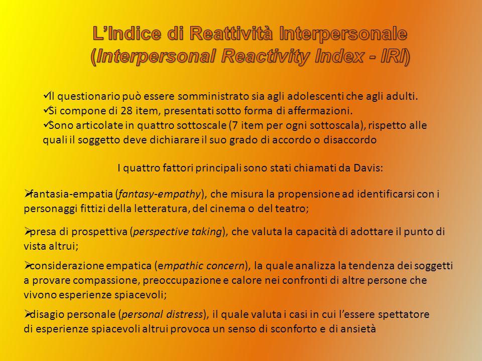 L'Indice di Reattività Interpersonale