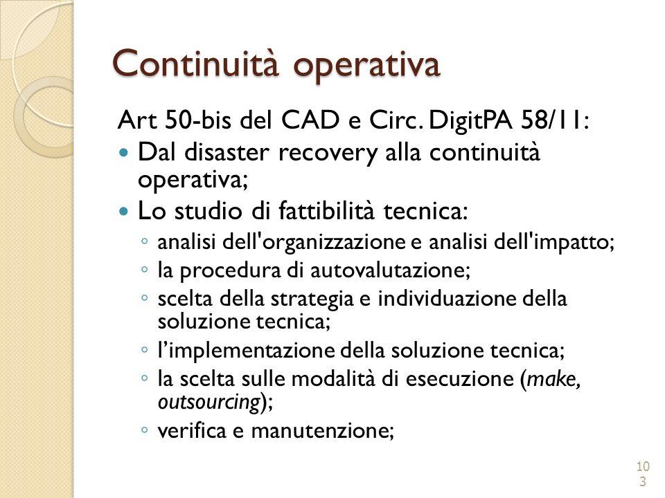 Continuità operativa Art 50-bis del CAD e Circ. DigitPA 58/11: