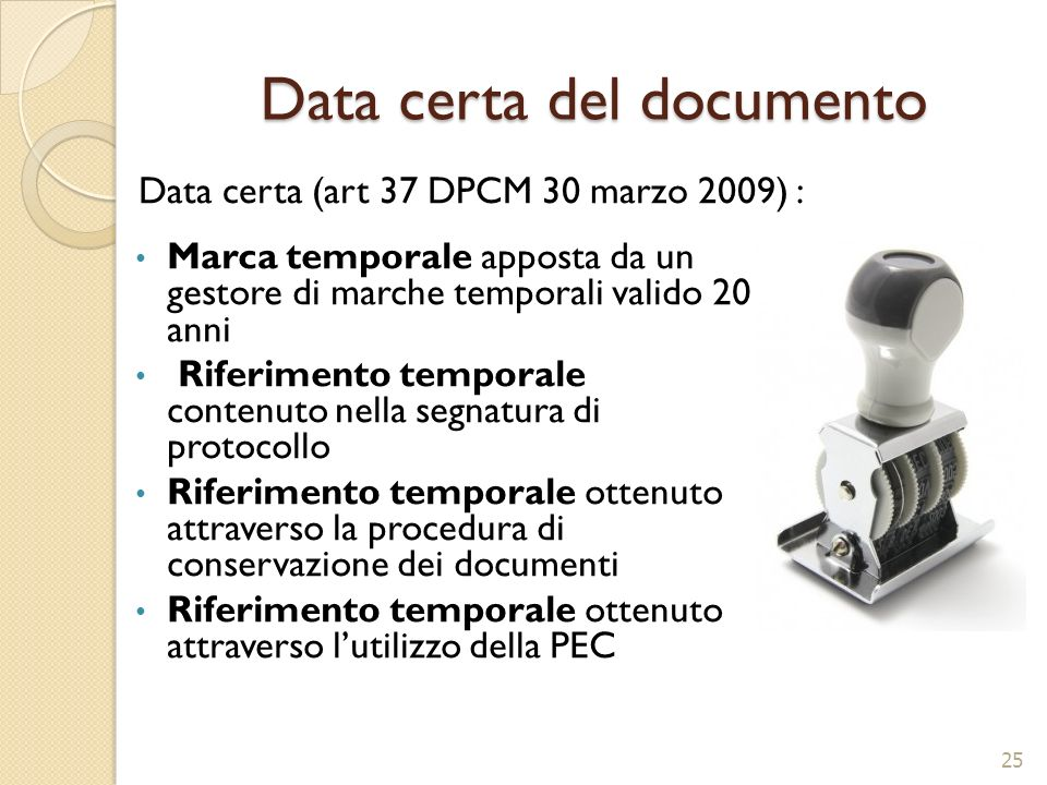Data certa del documento