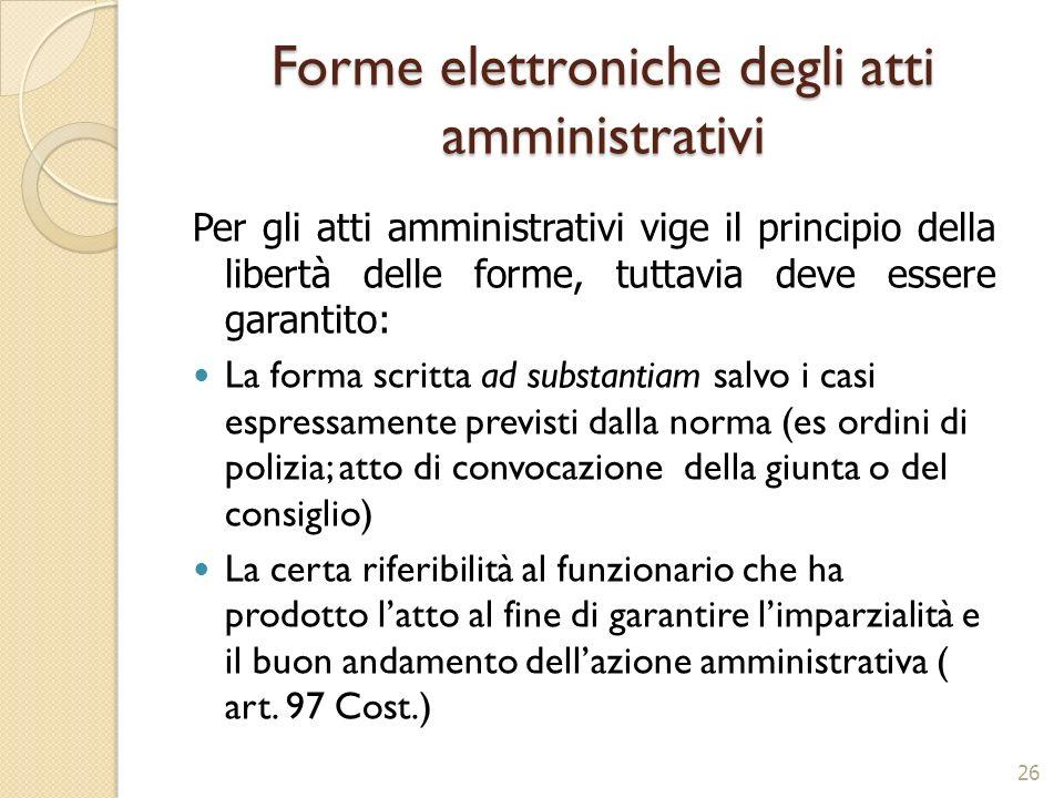 Forme elettroniche degli atti amministrativi