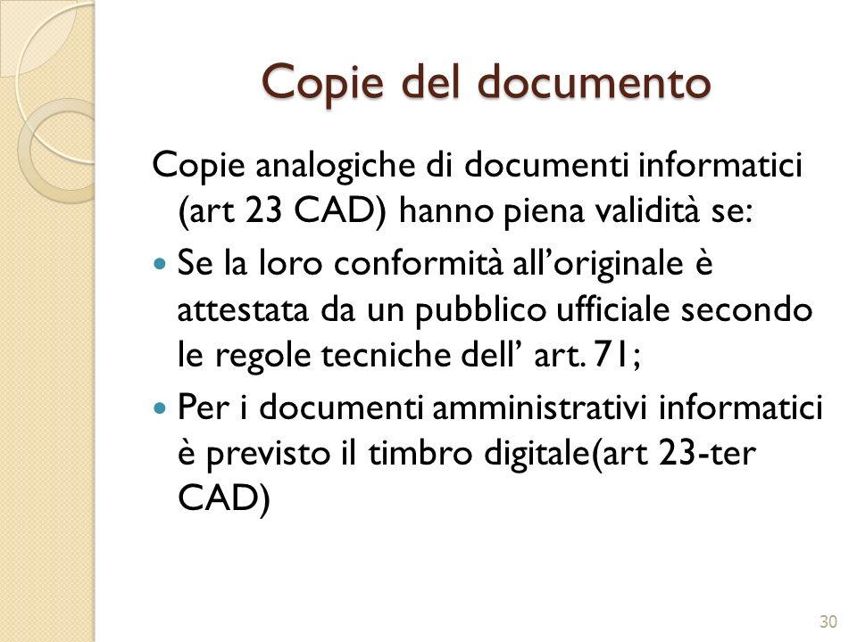Copie del documentoCopie analogiche di documenti informatici (art 23 CAD) hanno piena validità se: