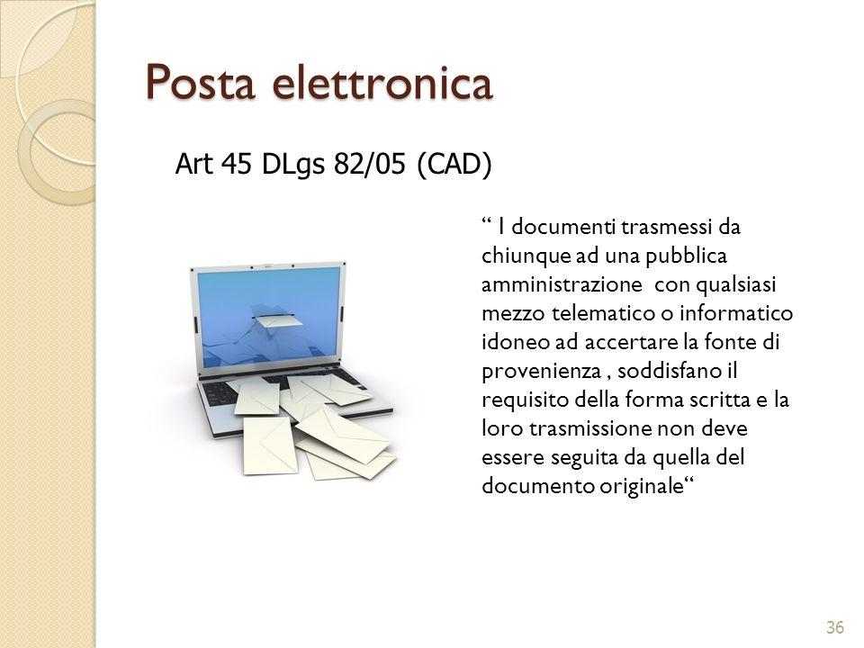 Posta elettronica Art 45 DLgs 82/05 (CAD)